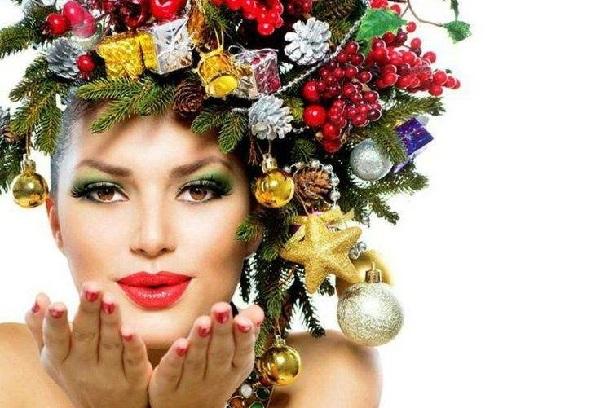 как сделать новогодний макияж, новогодний макияж дома, новогодняя прическа